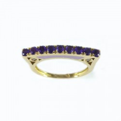 Ring in yellow gold and enamel with amethyst and diamonds
