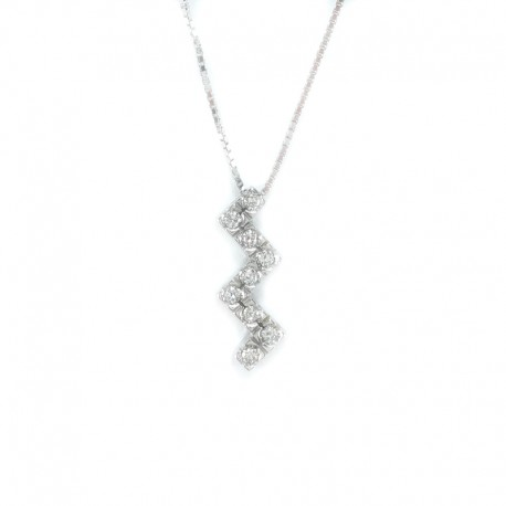 Necklace and pendant in white gold with brilliant cut diamonds