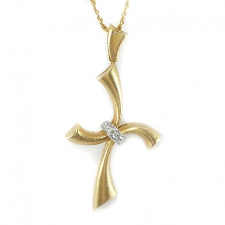 Yellow gold necklace and cross pendant of yellow and white gold with brilliant cut diamonds