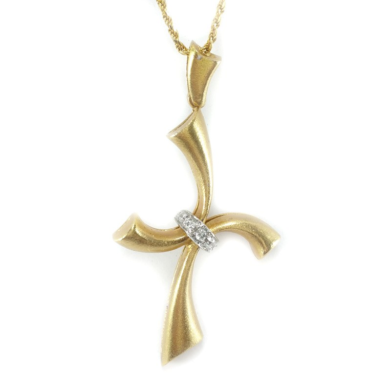 Yellow gold necklace and cross pendant of yellow and white gold with yellow gold necklace and cross pendant of yellow and white gold with brilliant cut diamonds aloadofball