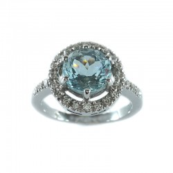 Ring in white gold, aquamarine and diamonds
