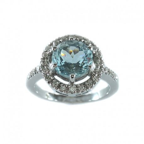 Ring in white gold, aquamarine and brilliant cut diamonds