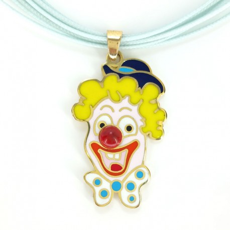 Pendant Clown, yellow gold and enamels with strap multi