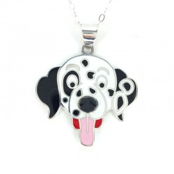 Pendant Dalmatian, white gold and enamel with chain white gold