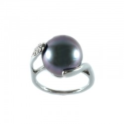 Ring white gold with pearl Tahiti and diamond