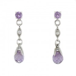 Earrings in white gold, amethyst, lavender, diamond