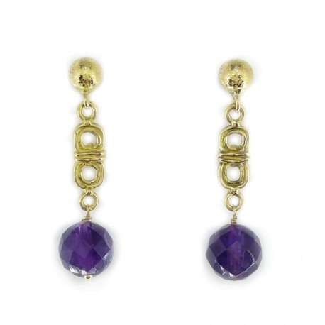 Earrings and yellow gold ball amethyst briolè