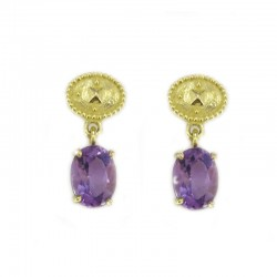 Earrings in yellow gold and amethyst