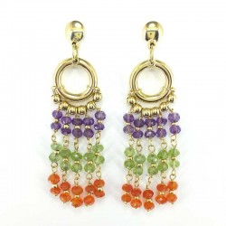 Earrings in yellow gold with pendant of amethyst, peridot and carnelian
