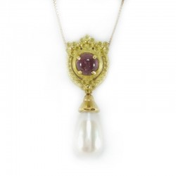 Gold necklace with pendant with tourmaline and pearl, fresh water