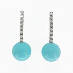 Silver earrings with cubic zirconia and bead in turquoise paste