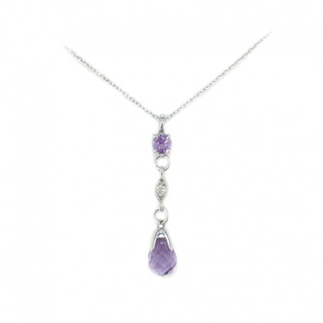 Necklace and pendant in white gold with amethysts and a diamond