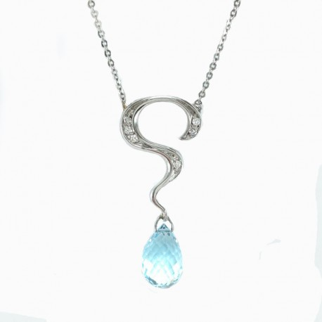 Necklace and pendant in white gold with blue topaz and diamonds