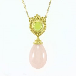 Necklace and pendant in yellow gold with peridot, and teardrop rose quartz