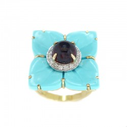 Ring in yellow gold, tourmaline, turquoise paste and diamonds