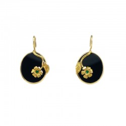 Earrings in yellow gold, onyx and emeralds