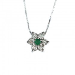 Necklace and pendant in white gold, emerald and diamonds