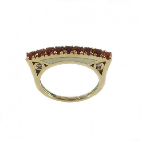 Ring in yellow gold and enamel with citrine quartz and diamonds