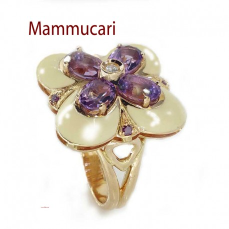 Ring in pink gold, enamel, amethysts and diamonds, white and purple