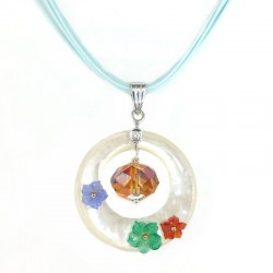 Pendant in mother-of-pearl, gold, flower stone and diamond and swarovski crystal