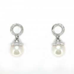 Earrings in white gold, cubic zirconia and pearl