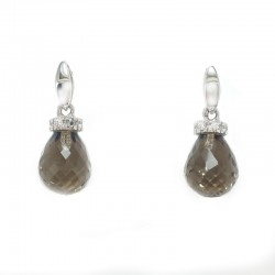 Earrings in white gold, cubic zirconia and smoky quartz