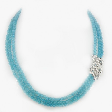 Necklace with beads of angelite, central in silver with topaz blue and carabiner