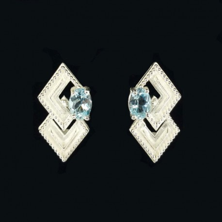 Silver earrings with topaz heavenly