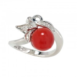 Ring in white gold, a sphere of coral and diamonds
