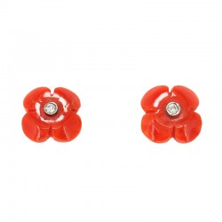 Flowers earrings in coral, white gold and diamonds