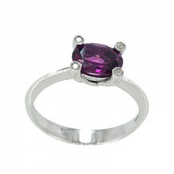 Ring in white gold, rubellite and diamonds