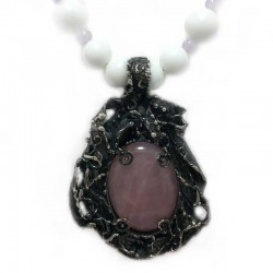 Necklace white agate, rose quartz and silver