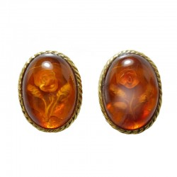 Earrings in yellow gold and amber engraved