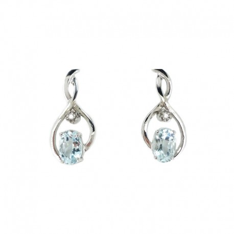 Earrings in white gold, aquamarine and diamond