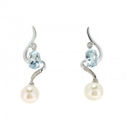 White gold earrings, aquamarine, pearl and diamond