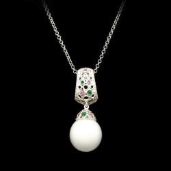 Sterling silver necklace with pendant, colored stones and ball of agata in white