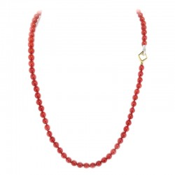 Necklace with spheres of red coral with closure in white and yellow gold