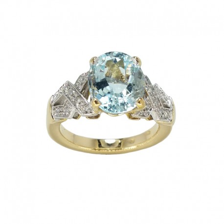 Ring in white gold/yellow, aquamarine and diamonds