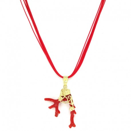 Pendant with red coral, lost wax yellow gold and multifilament lace