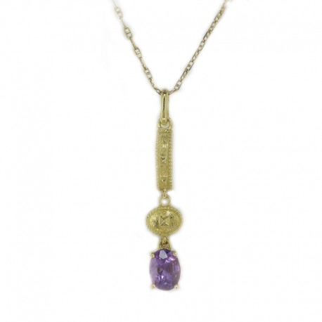Pendant lost wax with chain in yellow gold and amethyst