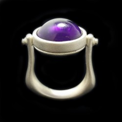 Silver ring-pendant with pure silvering and cabochon amethyst