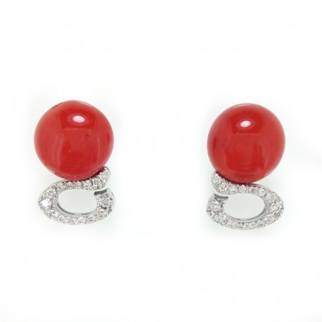 White gold earrings, coral and diamonds brilliant cut