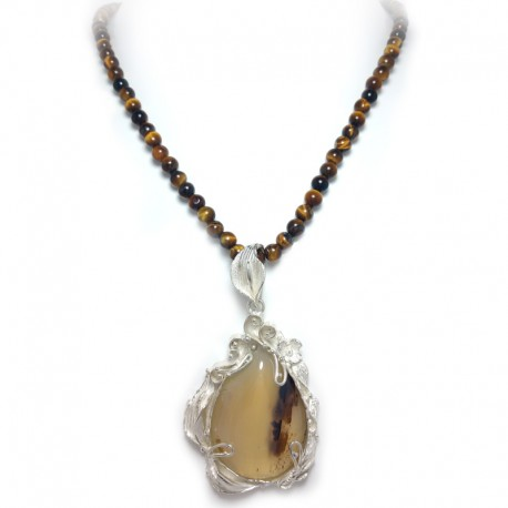 Tiger Eye Ball Necklace with Silver Pendant and Musky Quartz Cabochon