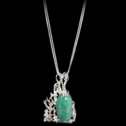Necklace with silver chain and pendant and amazonite cabochon