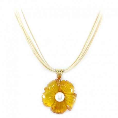 Amber flower pendant with freshwater pearl and multifilament lace
