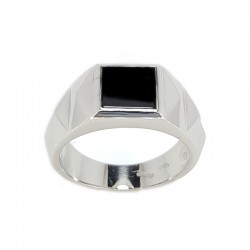 Man's ring in white gold and onyx