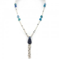 Freshwater pearl necklace, sapphires and hard stones
