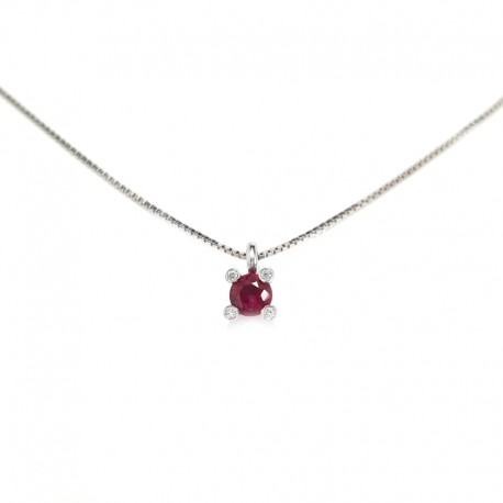White gold necklace and central with ruby and diamonds
