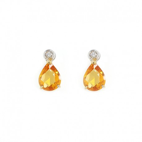 White gold earrings, orange sapphires and diamonds