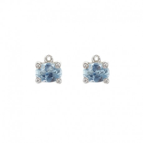 White gold earrings, aquamarine and brilliants cut diamonds